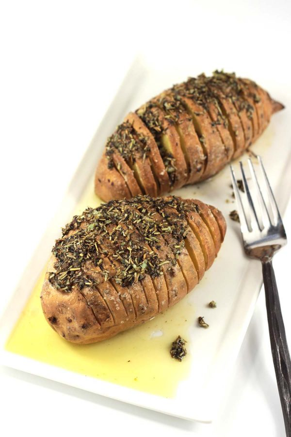 Hasselback Sweet Potatoes from The Performance Paleo Cookbook by Stephanie Gaudreau