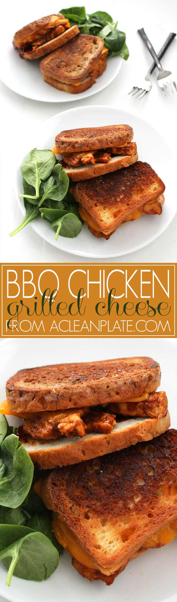 BBQ Chicken Grilled Cheese Sandwich recipe from acleanplate.com