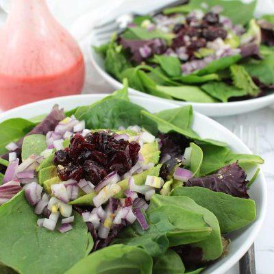 Cranberry Avocado Salad with Raspberry Vinaigrette