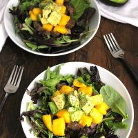 Southwestern Salad with Guacamole and Mango Salsa