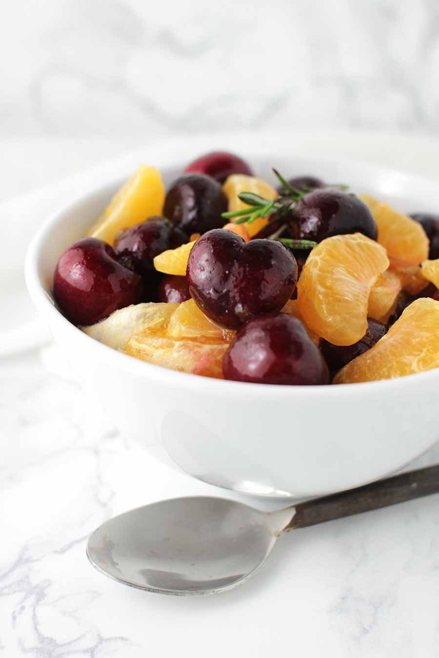Clementine Fruit Salad with Cherries from acleanplate.com #aip #autoimmuneprotocol #paleo #dessert #salad