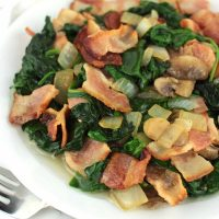 Mushroom Spinach Stir-Fry with Bacon
