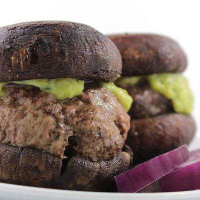 Guac-Stuffed Burgers with Roasted Portobello Buns