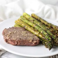 Garlic Steak with Lemon-Pepper Asparagus