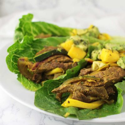 AIP Beef Fajita Wraps with Mango Salsa