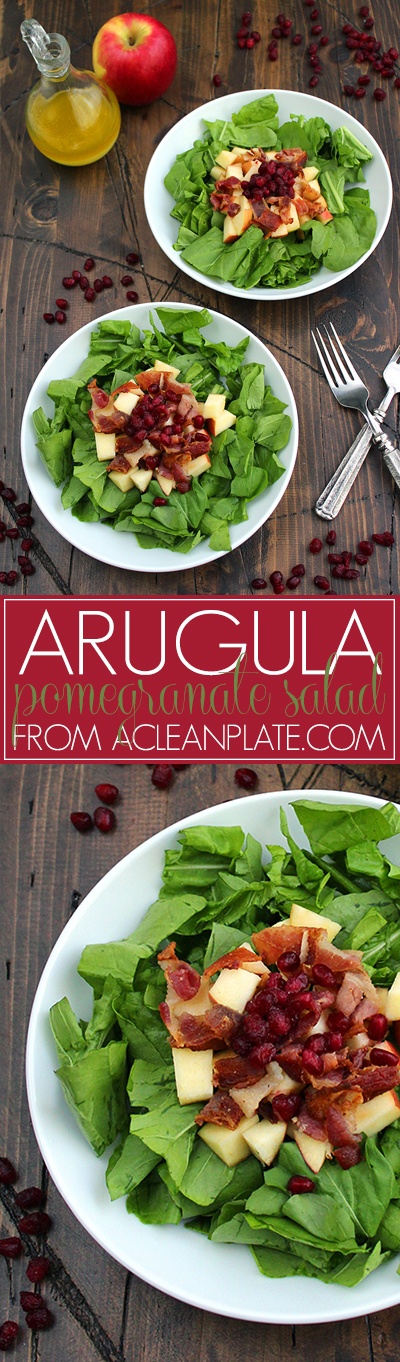 Arugula Pomegranate Salad recipe from acleanplate.com