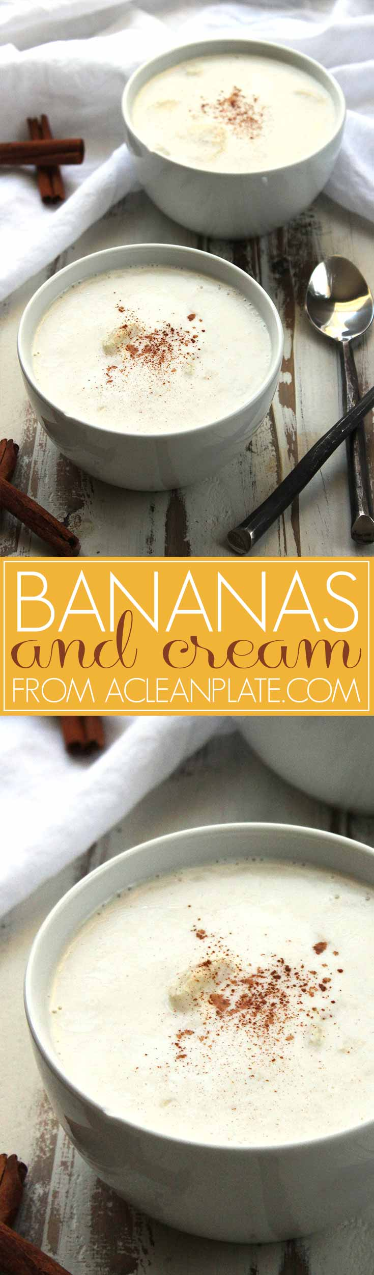 Healthy Dairy-Free Bananas and Cream dessert recipe from acleanplate.com