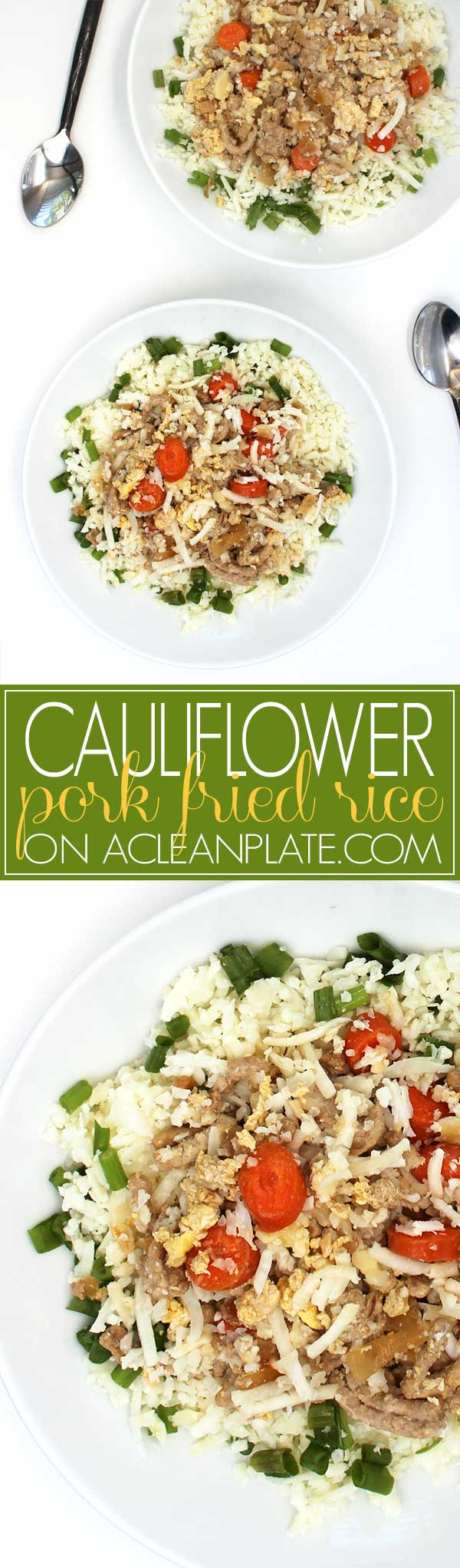 Cauliflower Pork Fried Rice recipe from One Pot Paleo on acleanplate.com