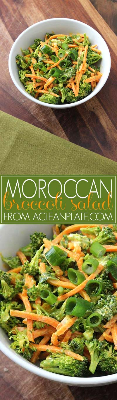 Moroccan-Inspired Broccoli Salad recipe from acleanplate.com