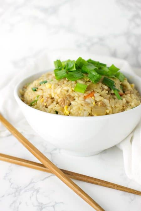 Pork Fried Rice recipe on acleanplate.com #paleo #glutenfree #dairyfree
