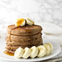 Cocoa Banana Pancakes recipe from acleanplate.com #breakfast #healthy #paleo
