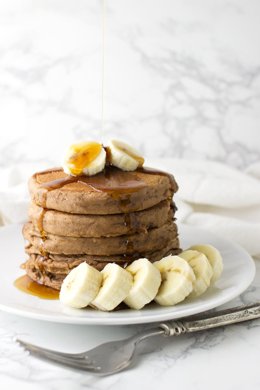 Cocoa Banana Pancakes recipe from acleanplate.com #breakfast #healthy #paleo