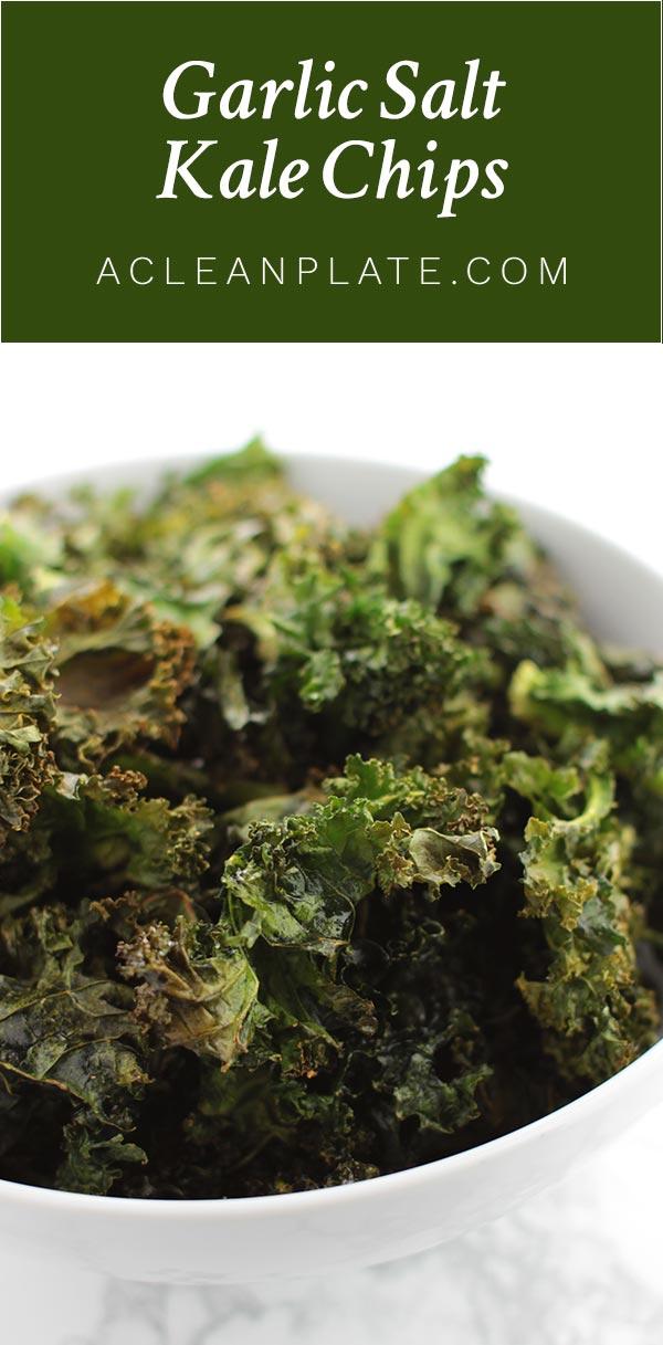 Garlic Salt Kale Chips recipe from acleanplate.com