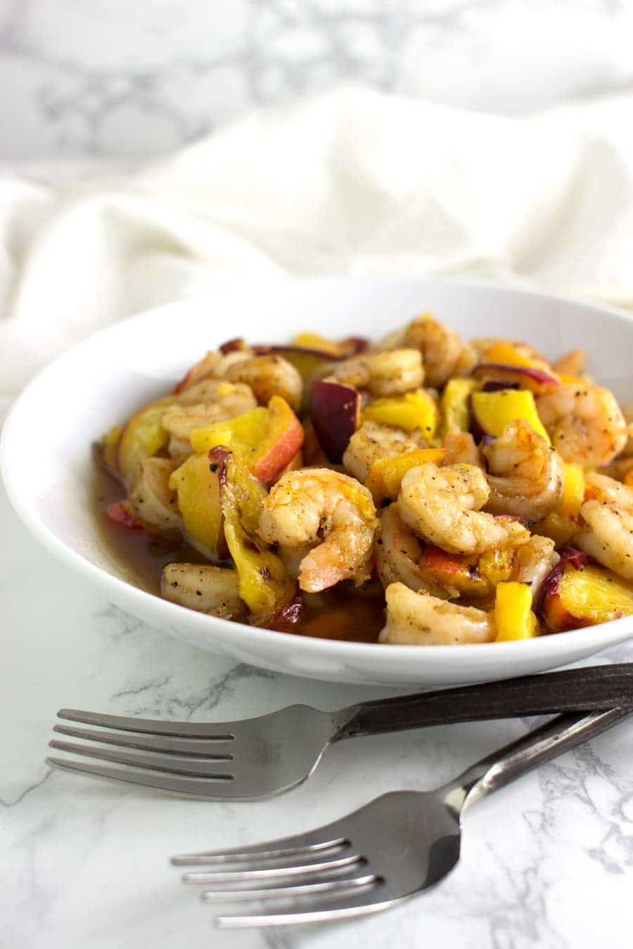 Maple-Glazed Peach Shrimp recipe from acleanplate.com #paleo #aip #autoimmuneprotocol