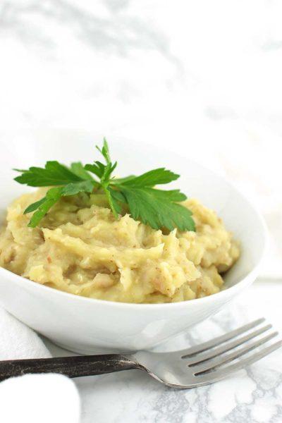 Mashed Roasted Garlic Sweet Potato