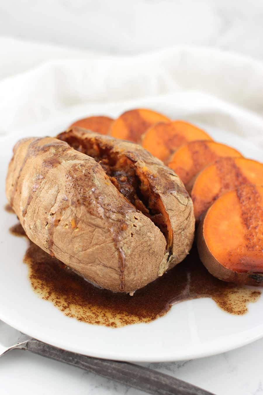 Maple-Cinnamon Baked Sweet Potatoes recipe from acleanplate.com #aip #paleo #autoimmuneprotocol
