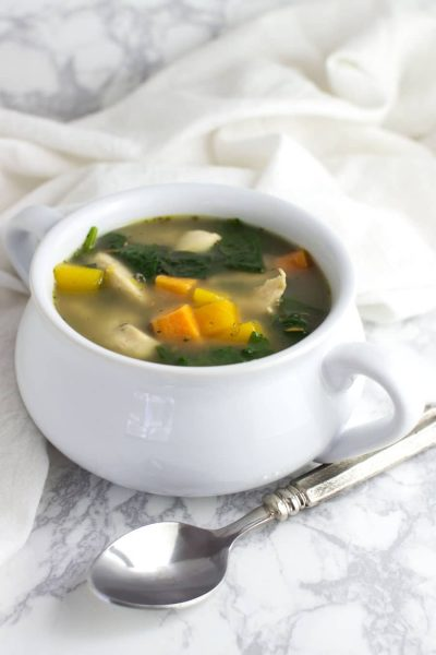 Roasted Chicken and Vegetable Soup recipe from acleanplate.com #aip #paleo #autoimmuneprotocol