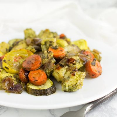 Basil Pesto Chicken and Roasted Veggies