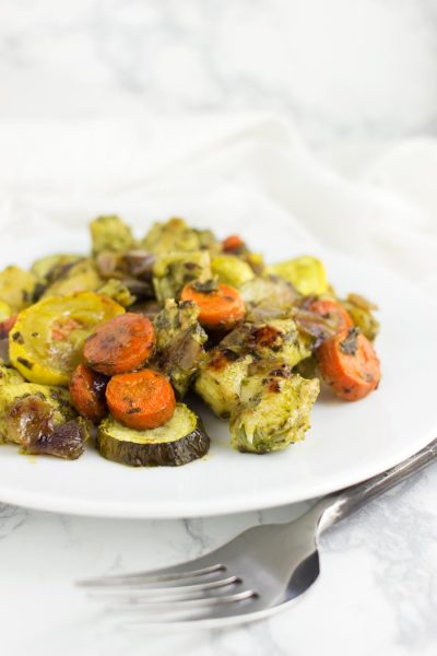 Basil Pesto Chicken and Roasted Veggies from acleanplate.com #aip #paleo #autoimmuneprotocol