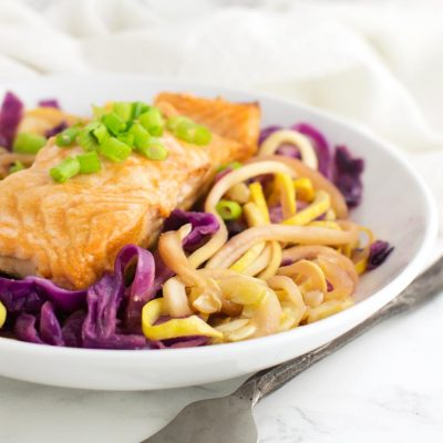 Salmon and Slaw Zoodle Bowl