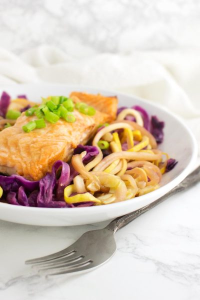 Salmon and Slaw Zoodle Bowl recipe from acleanplate.com #paleo #aip #glutenfree