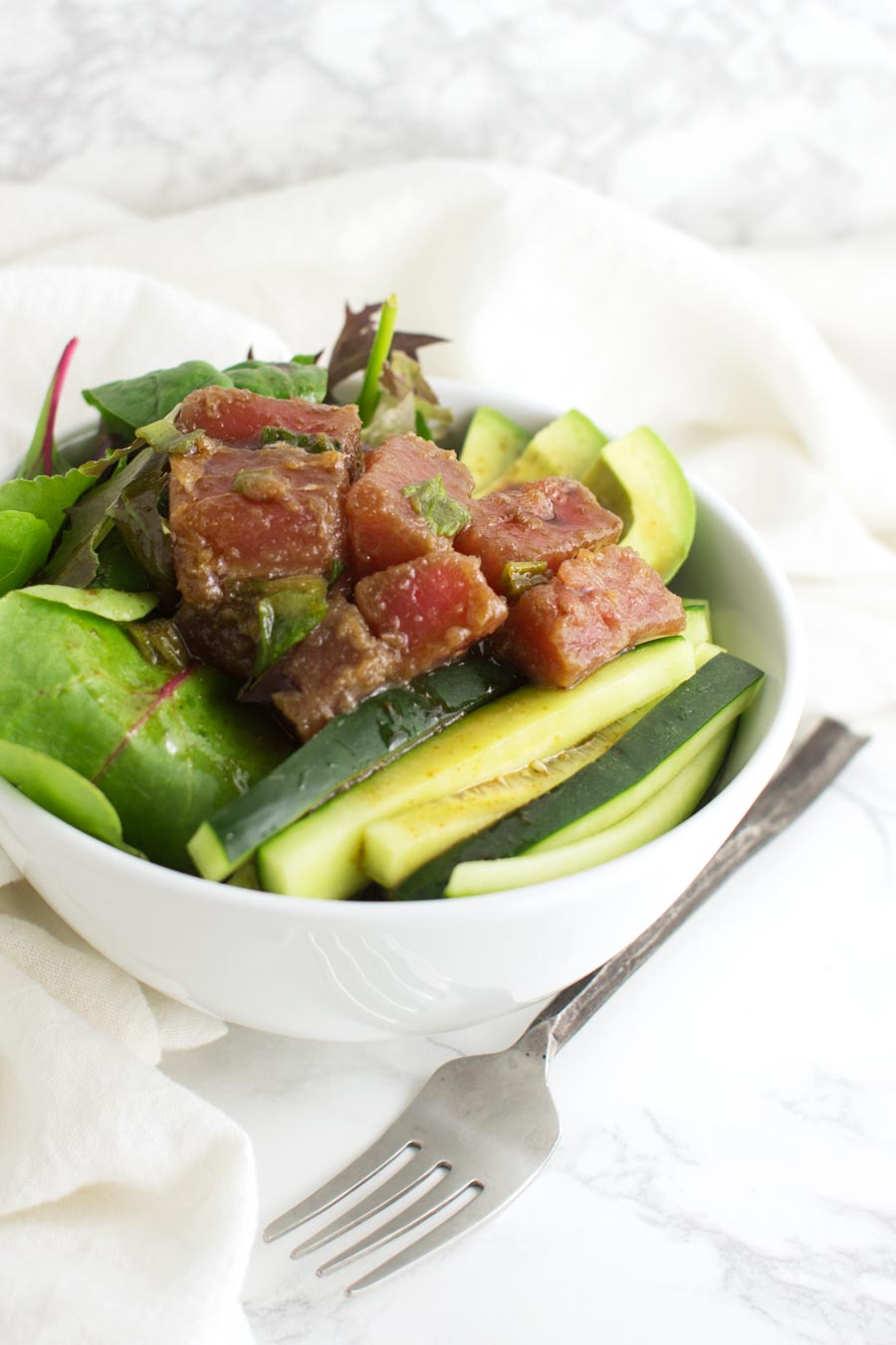 Tuna Poke Bowl recipe from acleanplate.com #paleo #aip #glutenfree